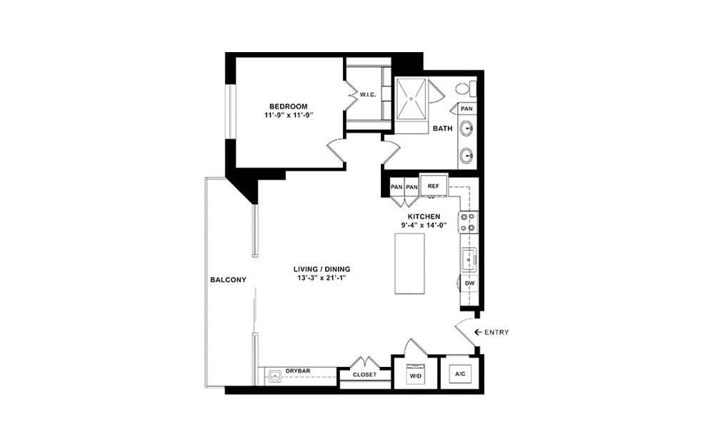 A12 - 1 bedroom floorplan layout with 1 bath and 913 square feet. (2D)