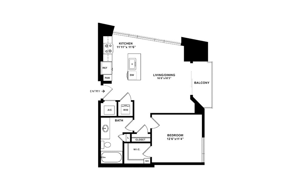A2 - 1 bedroom floorplan layout with 1 bath and 737 square feet. (2D)