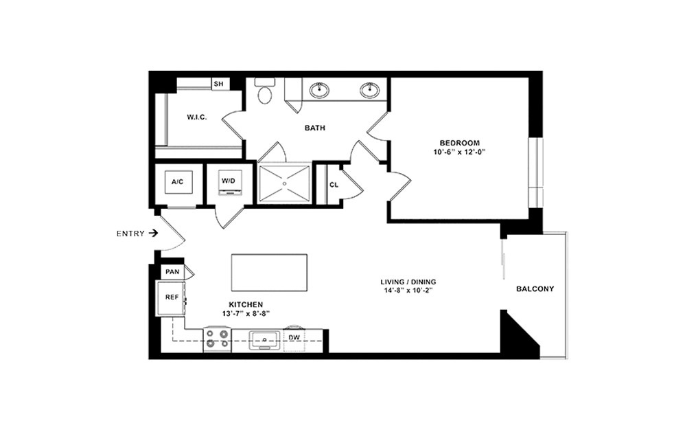 A3 - 1 bedroom floorplan layout with 1 bath and 786 square feet. (2D)