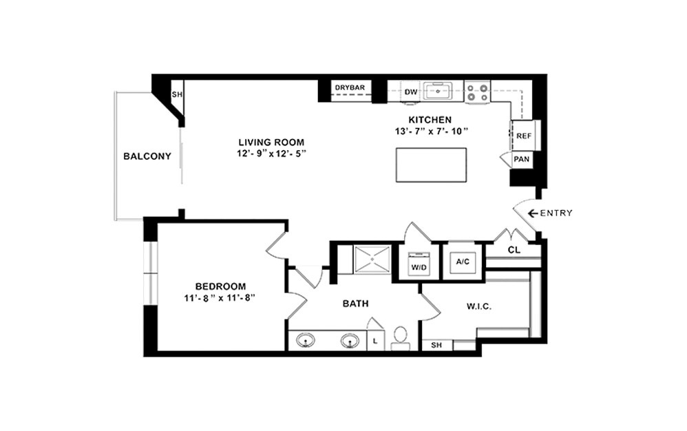 A6 - 1 bedroom floorplan layout with 1 bath and 872 square feet. (2D)