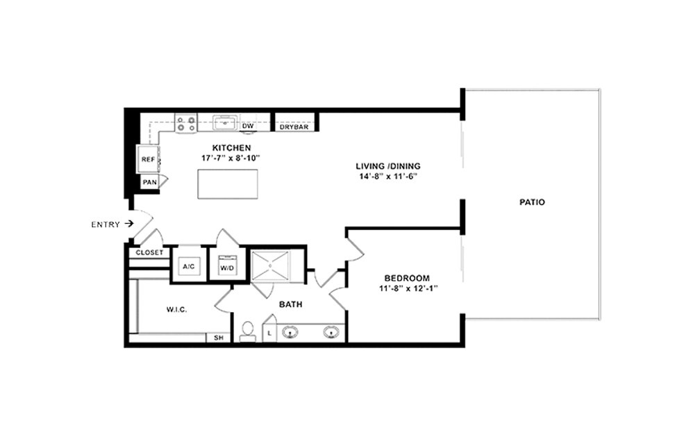 A9 - 1 bedroom floorplan layout with 1 bath and 885 square feet. (2D)