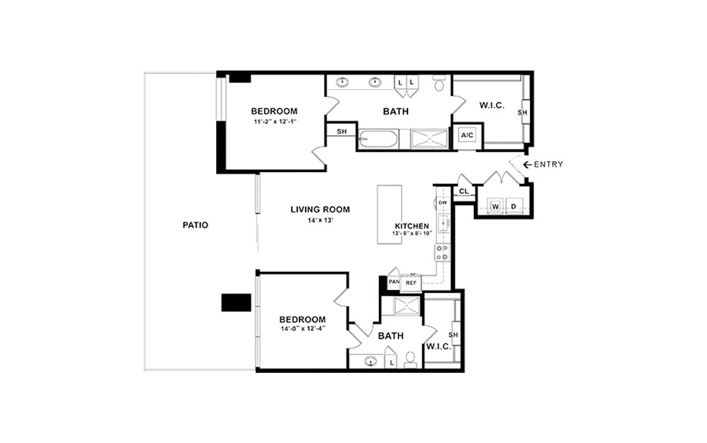 B1 - 2 bedroom floorplan layout with 2 baths and 1238 square feet. (2D)
