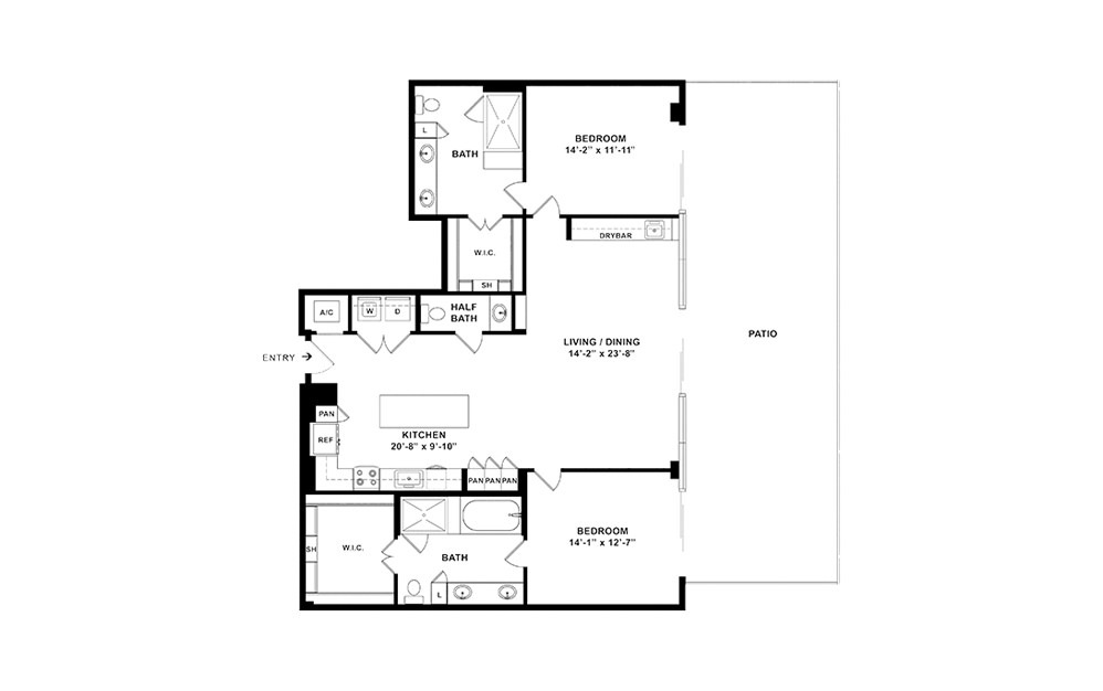 B10 - 2 bedroom floorplan layout with 2 baths and 1544 square feet. (2D)