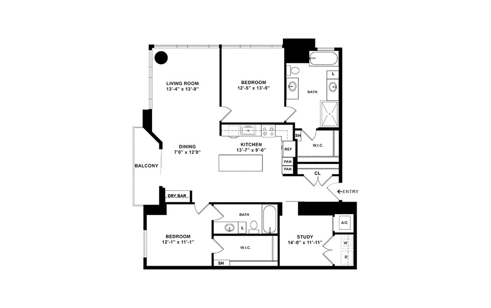 B11 - 2 bedroom floorplan layout with 2 baths and 1604 square feet. (2D)
