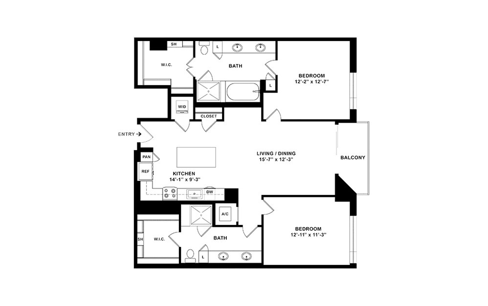 B4 - 2 bedroom floorplan layout with 2 baths and 1271 square feet. (2D)