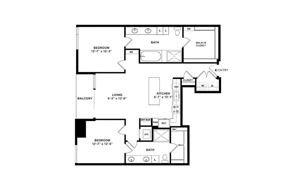 B5 - 2 bedroom floorplan layout with 2 baths and 1307 square feet. (2D)
