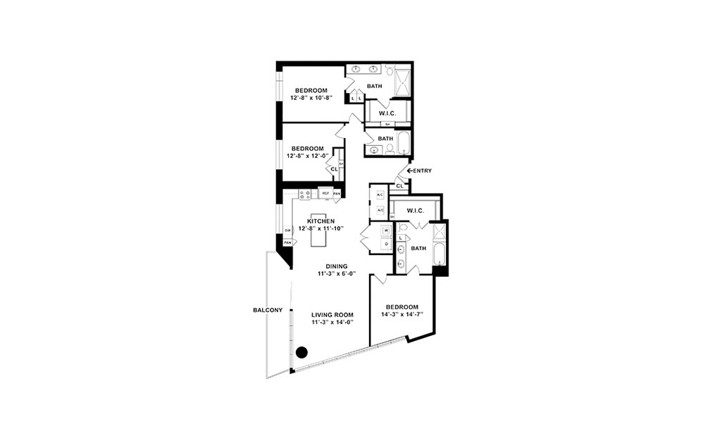 C1 - 3 bedroom floorplan layout with 3 baths and 1750 square feet. (2D)