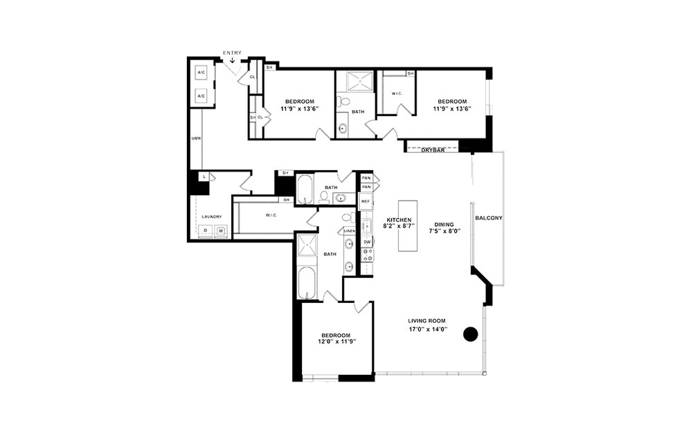 C2 - 3 bedroom floorplan layout with 3 baths and 2077 square feet. (2D)