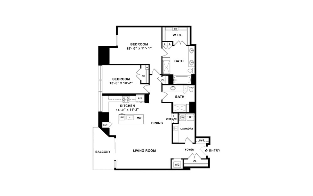 P1 - 2 bedroom floorplan layout with 2 baths and 1750 square feet. (2D)