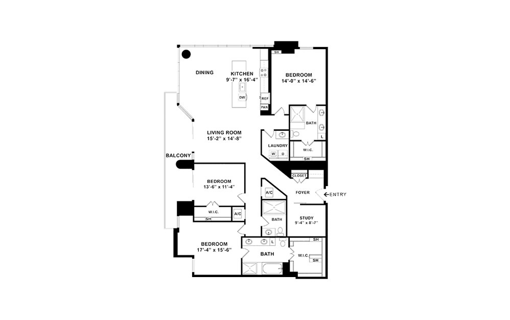 P6 - 3 bedroom floorplan layout with 3 baths and 2187 square feet. (2D)