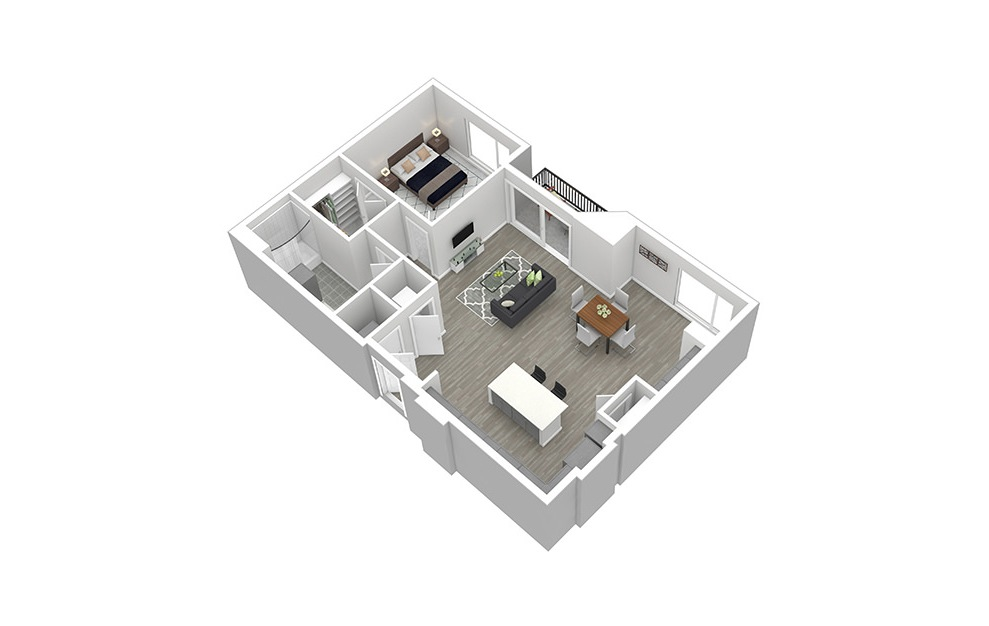 A10 - 1 bedroom floorplan layout with 1 bath and 931 square feet. (3D)