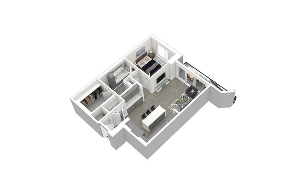 A11 - 1 bedroom floorplan layout with 1 bath and 978 square feet. (3D)