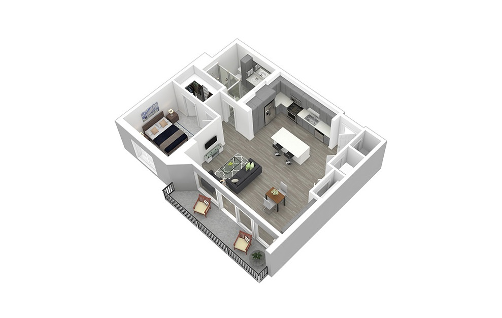 A12 - 1 bedroom floorplan layout with 1 bath and 913 square feet. (3D)