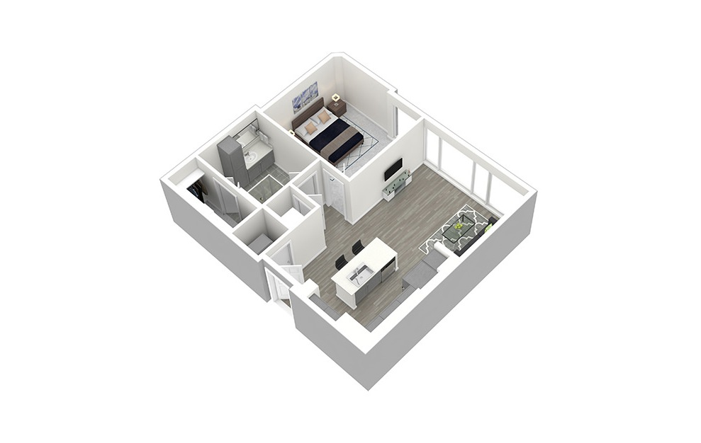 A1 - 1 bedroom floorplan layout with 1 bath and 727 square feet. (3D)
