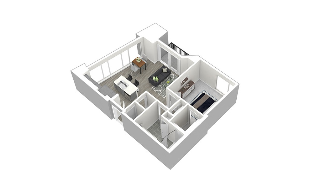 A2 - 1 bedroom floorplan layout with 1 bath and 737 square feet. (3D)