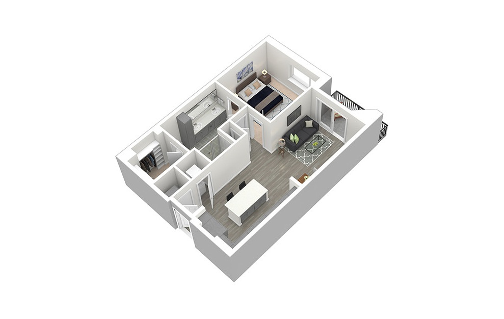 A3 - 1 bedroom floorplan layout with 1 bath and 786 square feet. (3D)