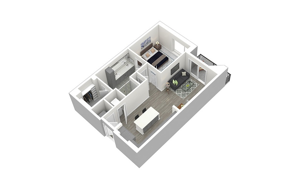 A4 - 1 bedroom floorplan layout with 1 bath and 812 square feet. (3D)