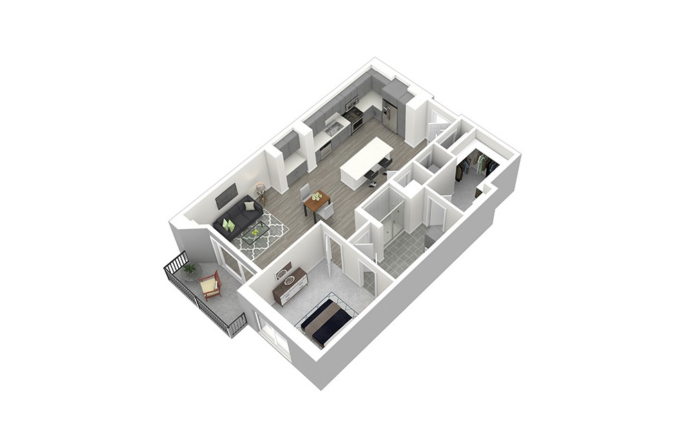 A6 - 1 bedroom floorplan layout with 1 bath and 872 square feet. (3D)