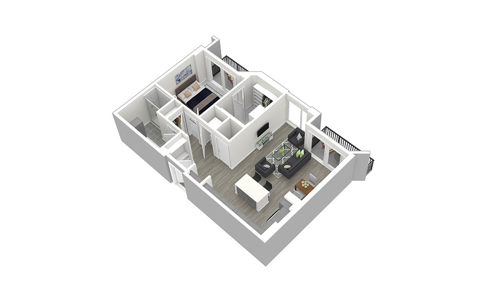 A7 - 1 bedroom floorplan layout with 1 bath and 872 square feet. (3D)
