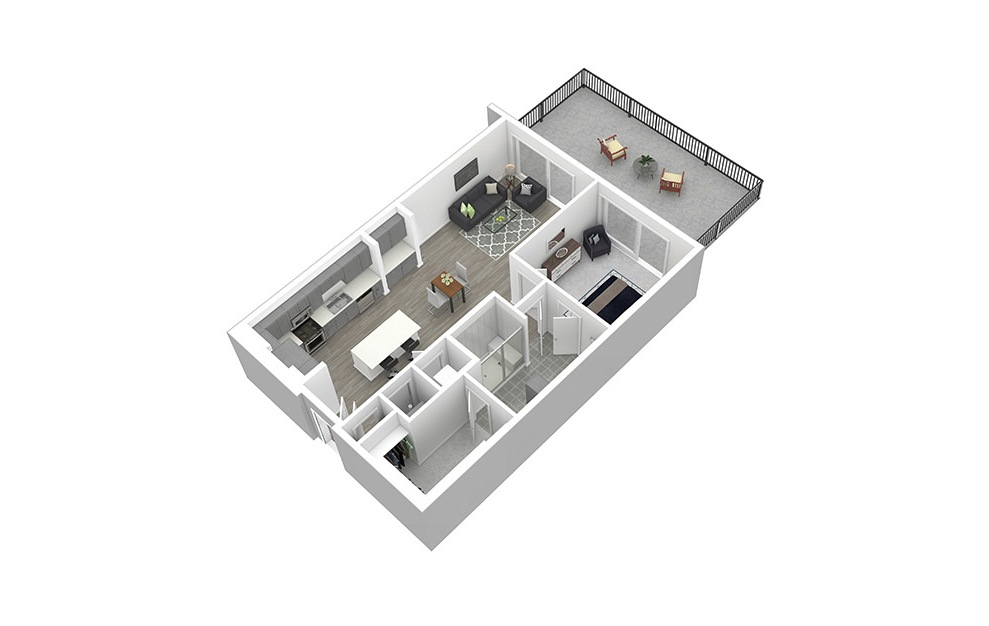 A9 - 1 bedroom floorplan layout with 1 bath and 885 square feet. (3D)
