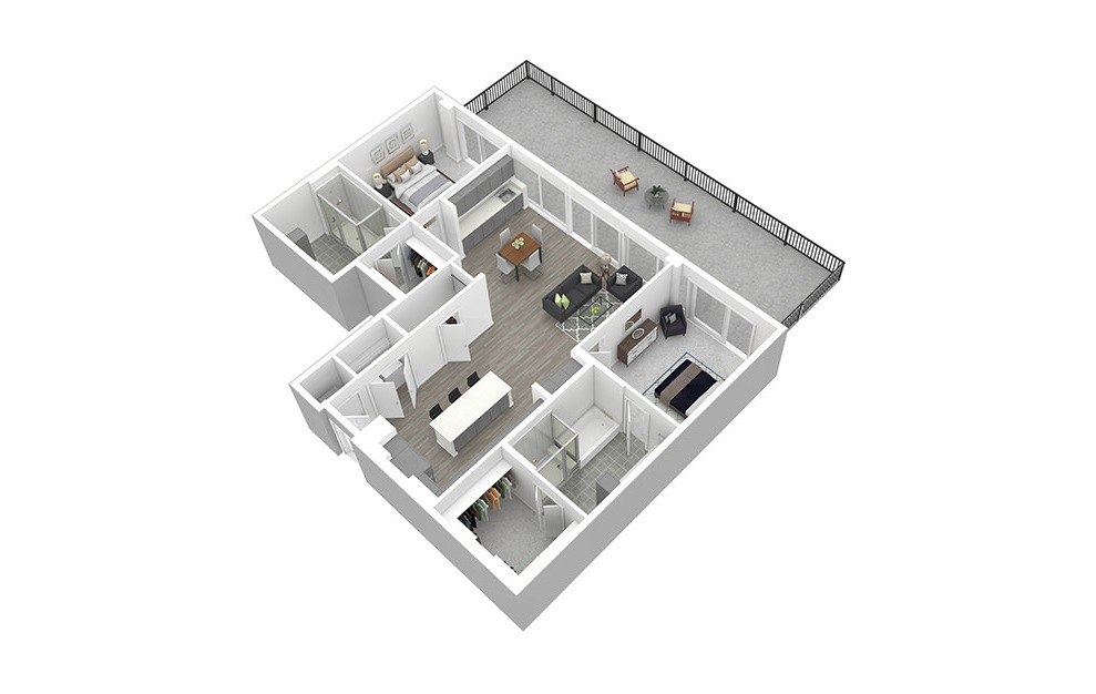 B10 - 2 bedroom floorplan layout with 2 baths and 1544 square feet. (3D)