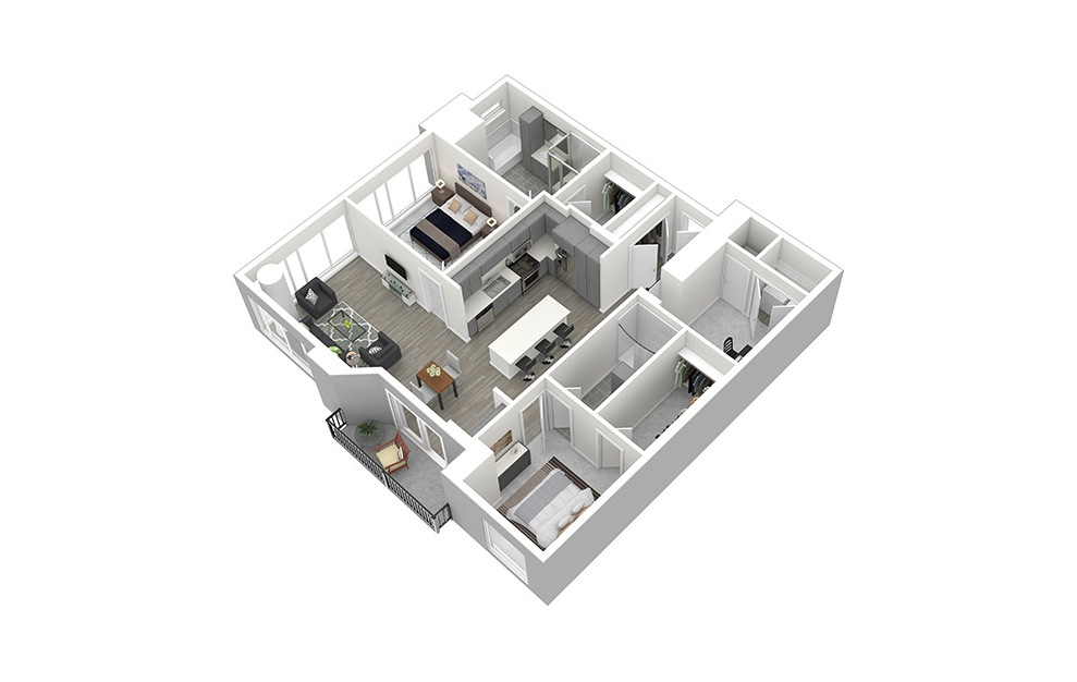 B11 - 2 bedroom floorplan layout with 2 baths and 1604 square feet. (3D)