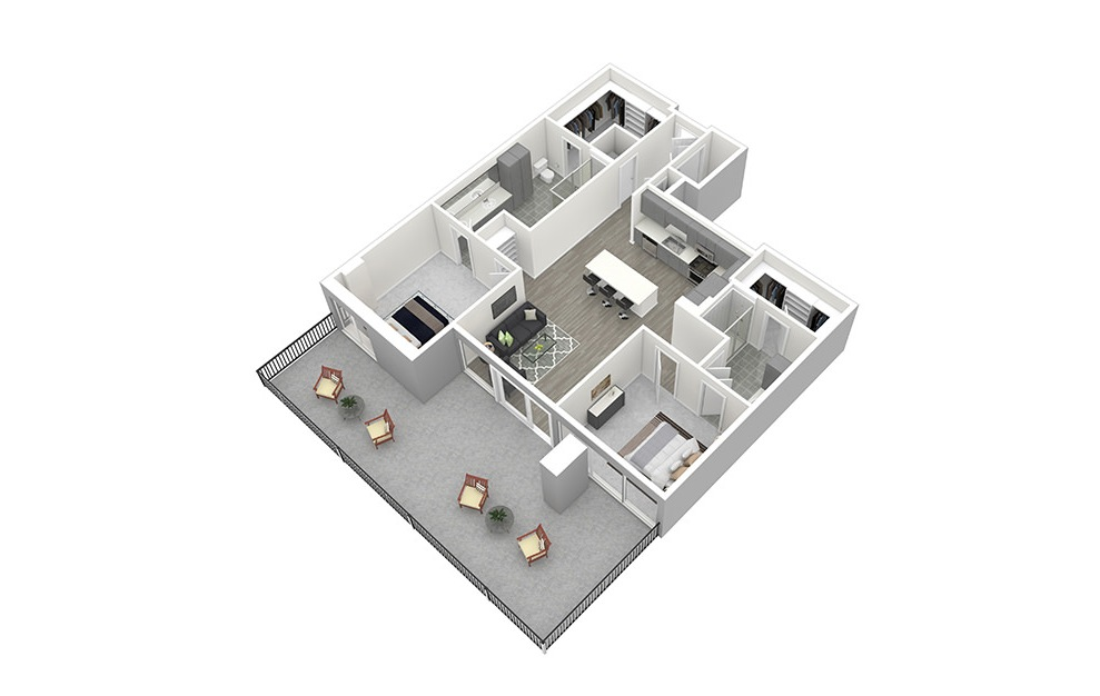 B1 - 2 bedroom floorplan layout with 2 baths and 1238 square feet. (3D)