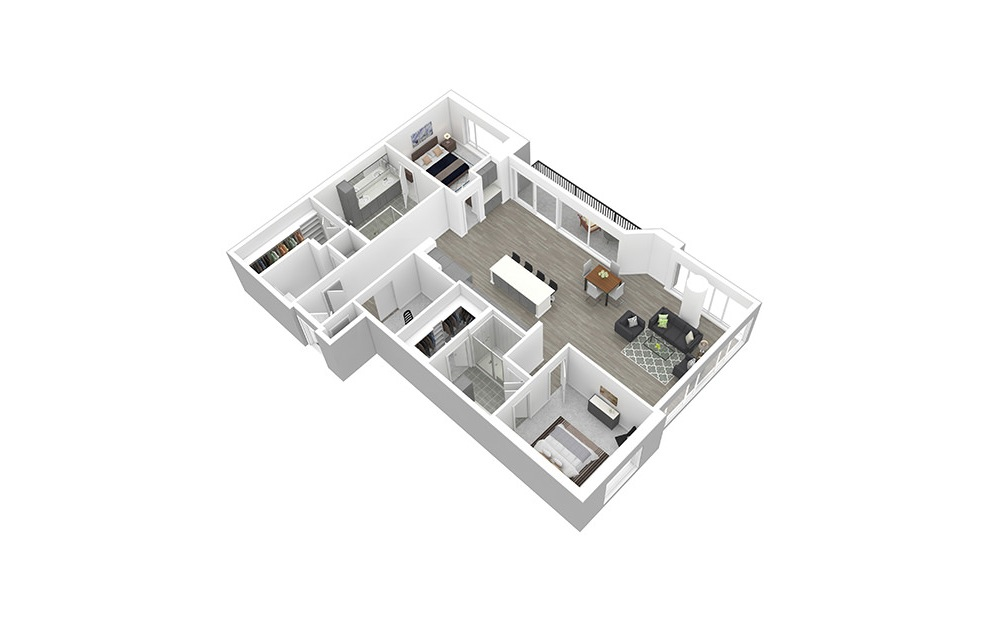 B14 - 2 bedroom floorplan layout with 2 baths and 1645 square feet. (3D)