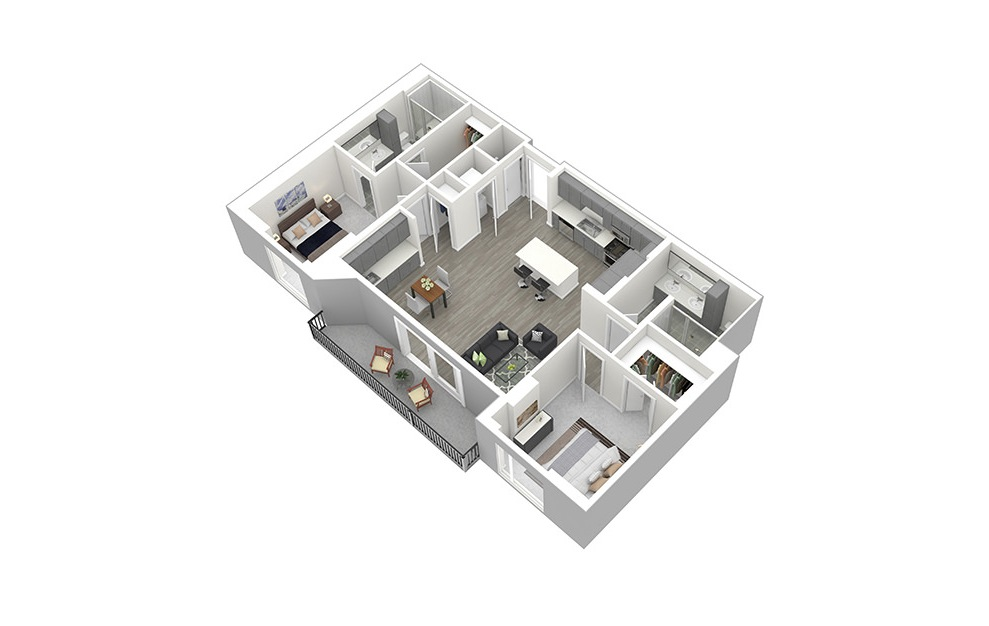 B2 - 2 bedroom floorplan layout with 2 baths and 1272 square feet. (3D)