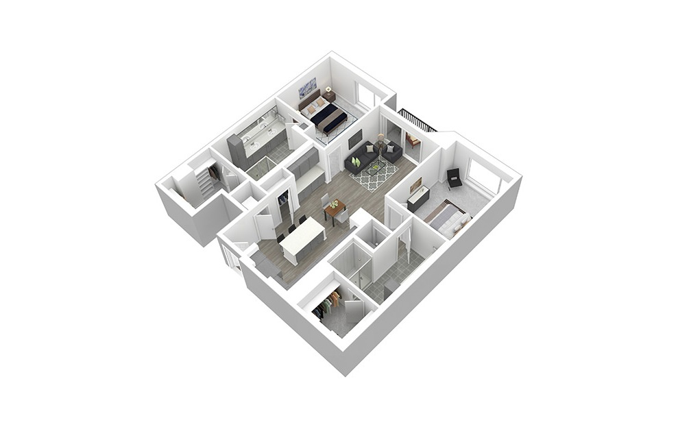 B4 - 2 bedroom floorplan layout with 2 baths and 1271 square feet. (3D)