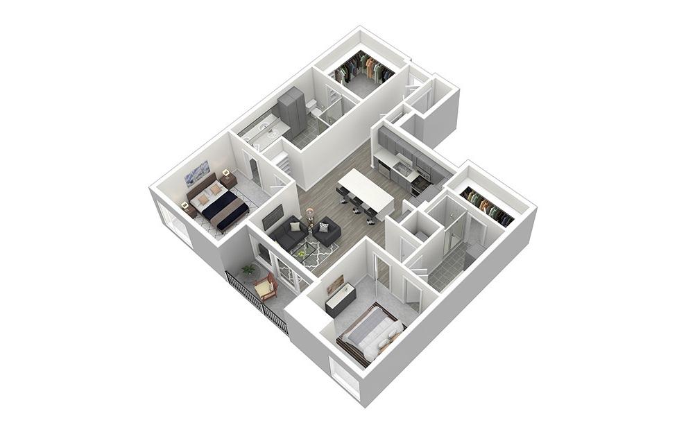 B5 - 2 bedroom floorplan layout with 2 baths and 1307 square feet. (3D)