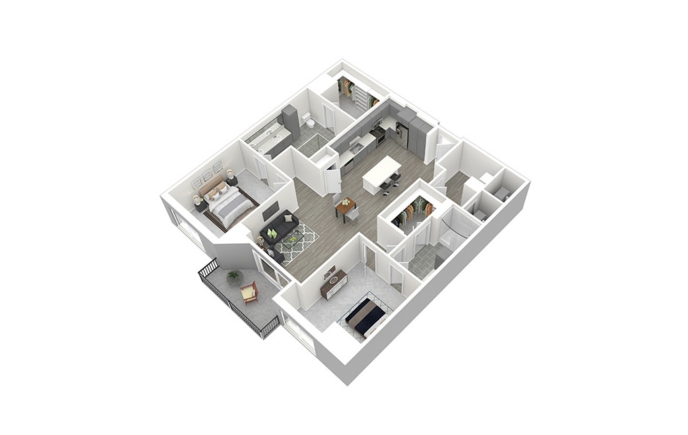 B6 - 2 bedroom floorplan layout with 2 baths and 1321 square feet. (3D)
