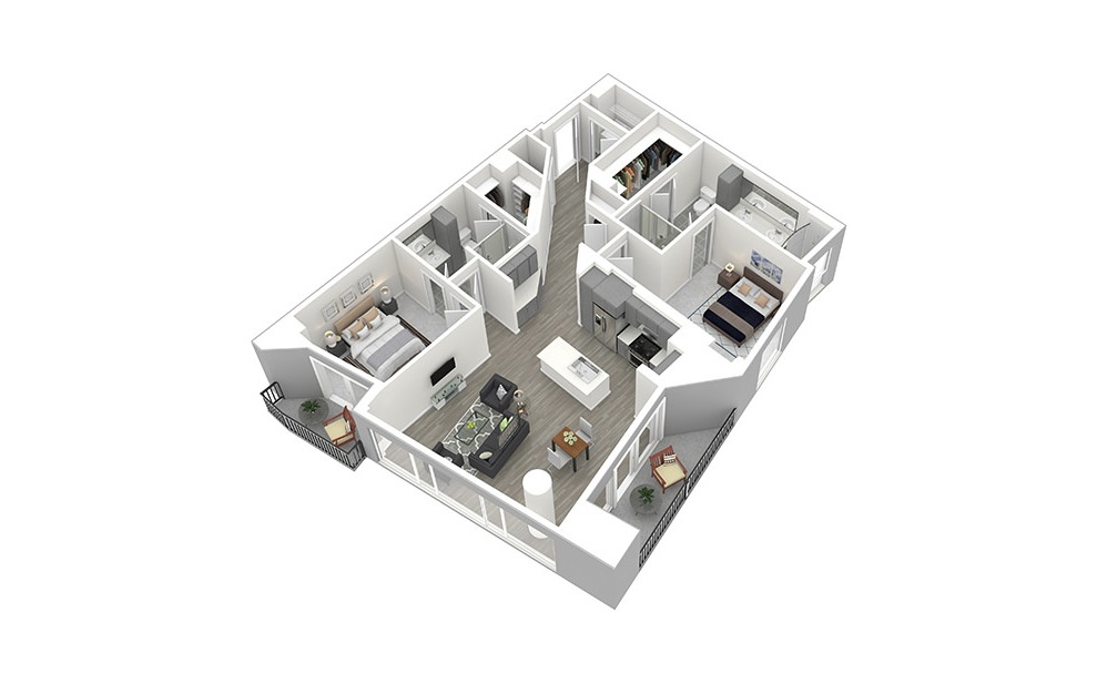 B9 - 2 bedroom floorplan layout with 2 baths and 1497 square feet. (3D)