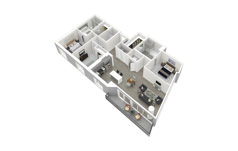 C1 - 3 bedroom floorplan layout with 3 baths and 1750 square feet. (3D)