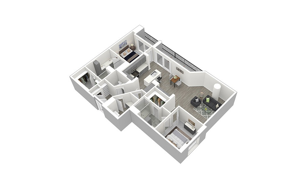 P2 - 2 bedroom floorplan layout with 2.5 baths and 1588 square feet. (3D)