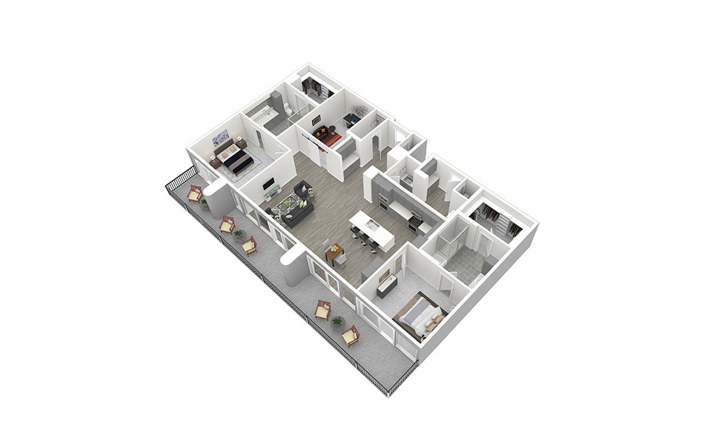 P3 - 2 bedroom floorplan layout with 2.5 baths and 1995 square feet. (3D)