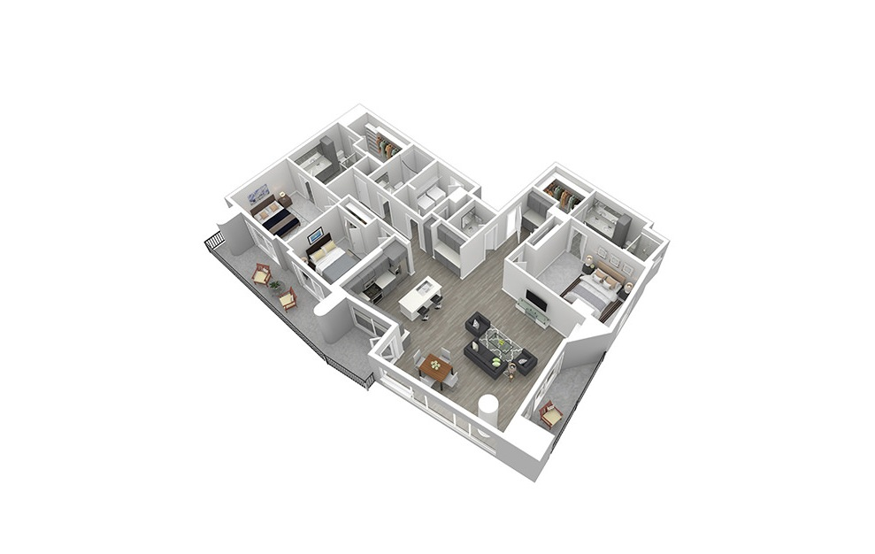 P4 - 3 bedroom floorplan layout with 3.5 baths and 1588 square feet. (3D)