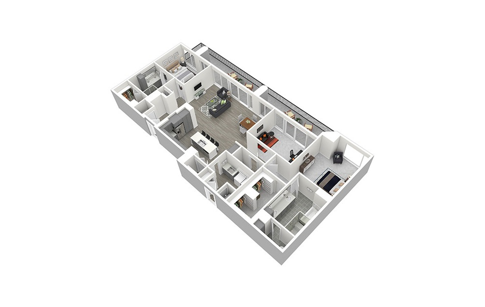 P5 - 2 bedroom floorplan layout with 2.5 baths and 2187 square feet. (3D)