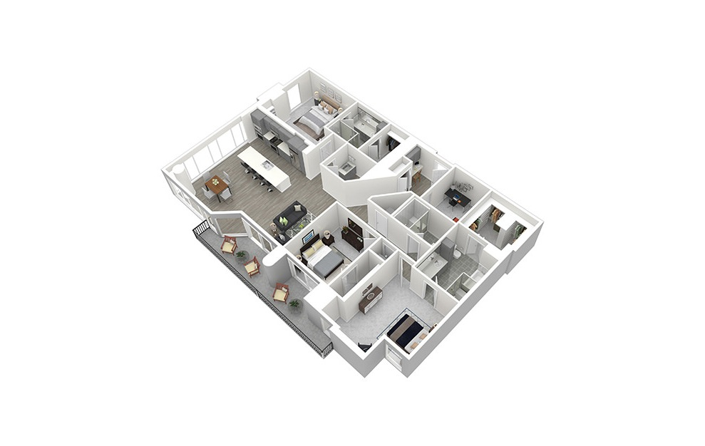 P6 - 3 bedroom floorplan layout with 3 baths and 2187 square feet. (3D)