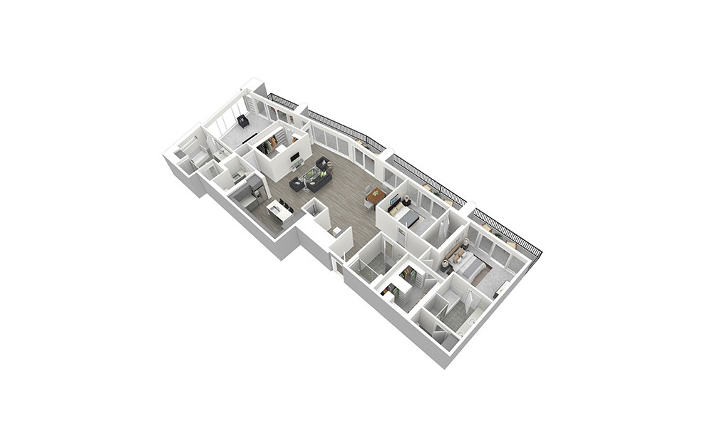 P7 - 3 bedroom floorplan layout with 3 baths and 2187 square feet. (3D)